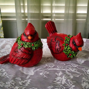 Two  Large Cute Red Cardinals Figuirines